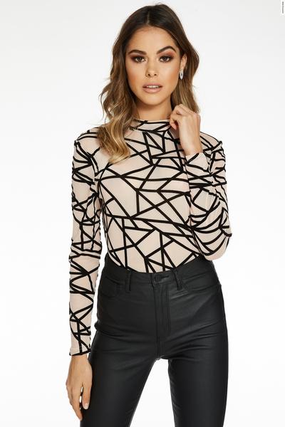 Nude and Black Geometric Long Sleeve Bodysuit